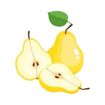 ジューシーな梨のカラフルな半分と全体の明るいイラスト。白い背景の上の新鮮な漫画梨。