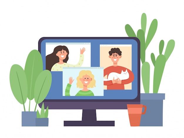 ビデオ会議で通信している若者とモニターします。コロナウイルス、概念図からの自己分離中のオンライン通信パーティー