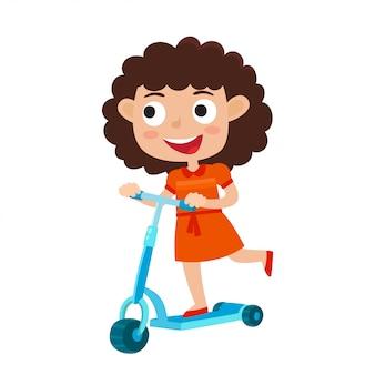 屋外で白で隔離キックスクーターに乗ってドレスで巻き毛の少女のかわいい概念図