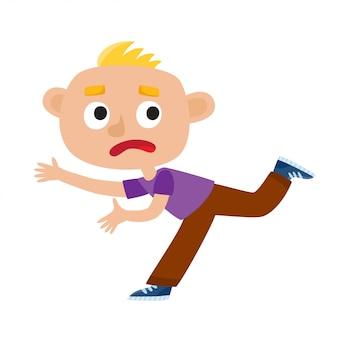 漫画のスタイルで白で隔離される恐怖から走っている悲しい金髪の少年のカラーイラスト