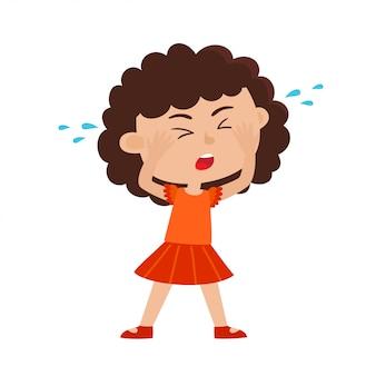 漫画のスタイルで白で隔離悲しい泣いている巻き毛の女の子のカラーイラスト