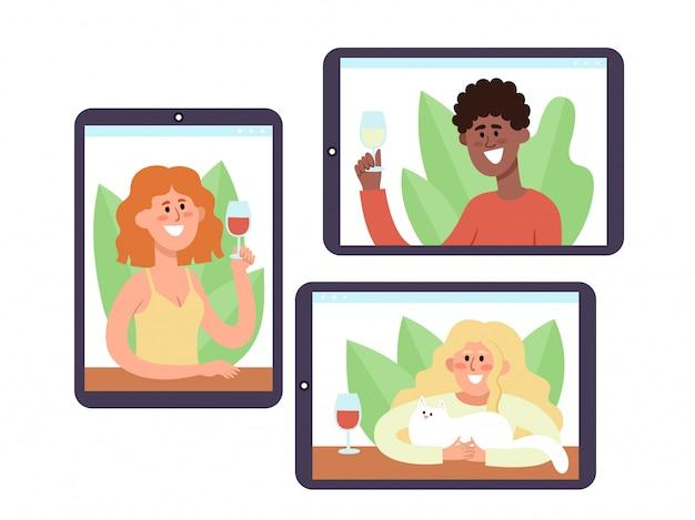 ビデオ会議で通信するワインを持つ若者とのノートパソコン。自己分離中のオンライン通信パーティー