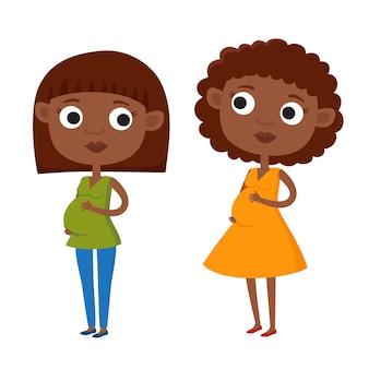 白で隔離されるカジュアルな服で色かわいい漫画のアフリカ系アメリカ人女性のイラスト