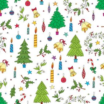 クリスマス装飾のシームレスなパターン。バックグラウンド