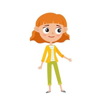 スタイリッシュな流行に敏感な赤い髪の少女、漫画のベクトルイラスト白で隔離