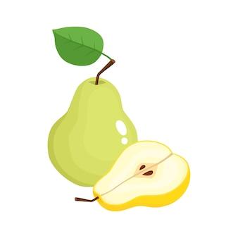 ジューシーな梨の分離、有機フルーツの明るいベクトルイラスト