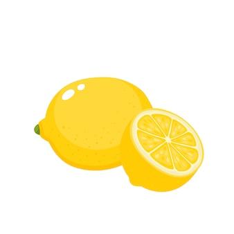 カラフルなジューシーなレモンの明るいベクトルイラスト分離、有機柑橘系の果物