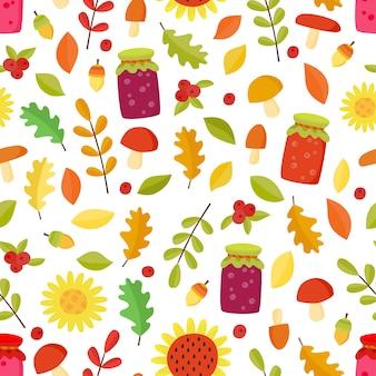 葉、キノコ、ジャムと秋のシームレスパターン