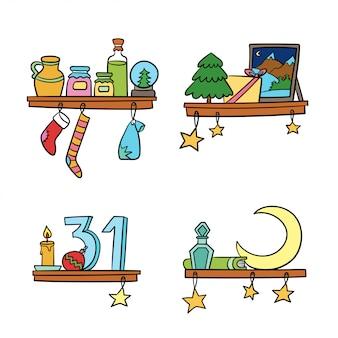 漫画のクリスマスの飾りと棚の上の装飾