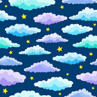 漫画の色の雲と星の青い色のシームレスパターン。夜のシームレスなパターン。