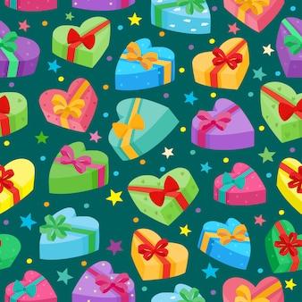 バレンタインデーはコレクションをプレゼントします。漫画の贈り物のシームレスなパターンベクトル