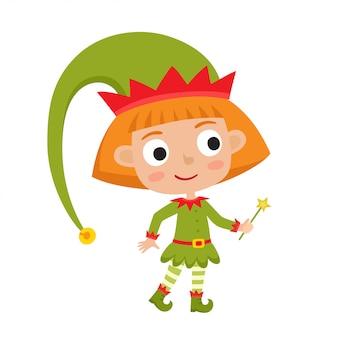 Милый маленький рождественский эльф девушка улыбается и стоит с волшебной палочкой