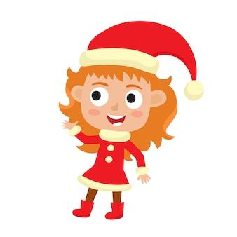 Милая маленькая рождественская девушка эльф улыбается, иллюстрация