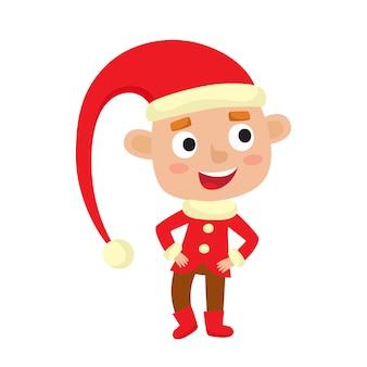 Милый маленький рождественский мальчик эльф улыбается