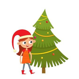Девушка в новогодней шапке и елке с шарами, гирляндами