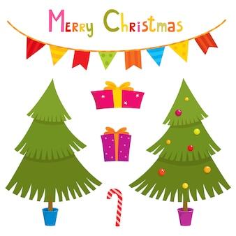 Набор милых маленьких рождественских элементов
