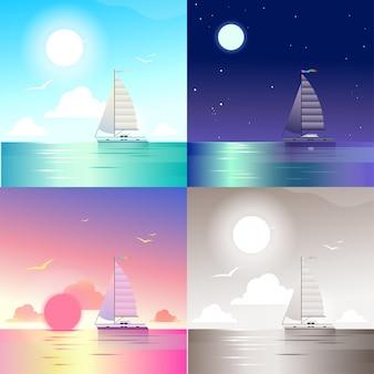 Плоский пейзаж океан море яхта летние путешествия отпуск сцены набор. стильный веб-баннер природа открытый коллекция. дневной свет, ночной лунный свет, вид на закат, ретро старинные картины сепия.
