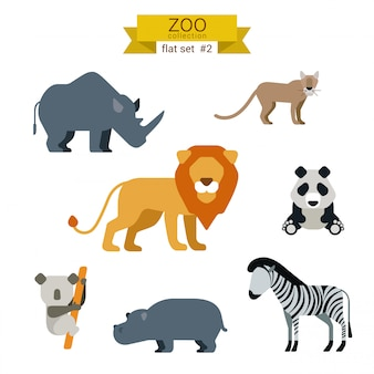 Мультфильм животных плоский дизайн иллюстрации набор.