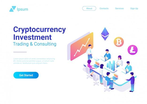 暗号通貨取引投資のコンセプト。人々はベクトルアイソメ図の上にグラフと暗号通貨のアイコンを持つテーブルに座っています。