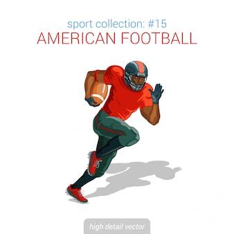 Американский футбол черный игрок спринт мяч. спортсмен высокой детализацией иллюстрации.