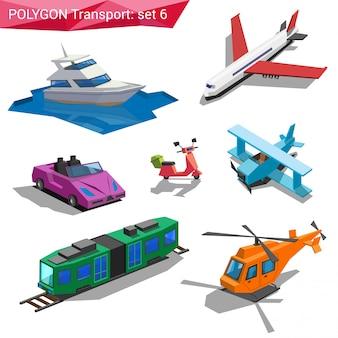 Полигональный стиль транспортных средств набор иллюстраций.