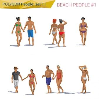 Полигональные стиль пляж людей, идущих набор иллюстраций.