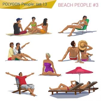 Полигональные люди пляжа стиля отдыхая установленные иллюстрации.