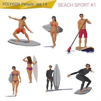 Люди полигонального стиля пляжа водные виды спорта установили иллюстрации.