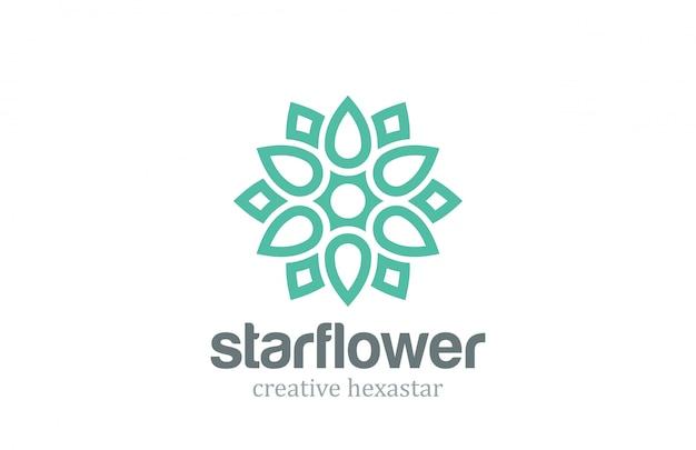 Звездный цветок шаблон в абстрактный линейный