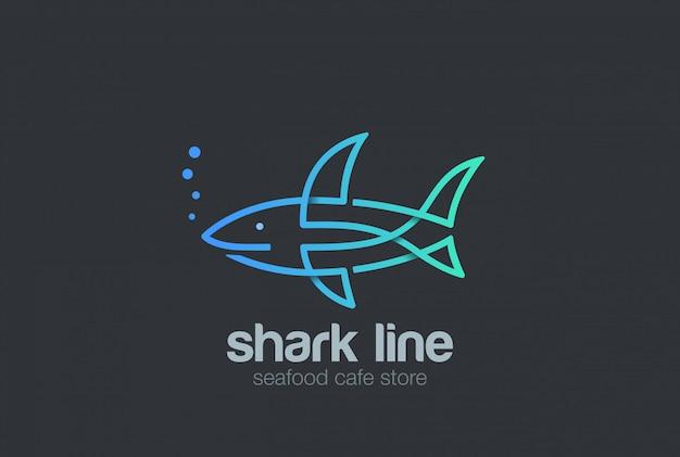 サメのロゴの線形スタイルのアイコン。