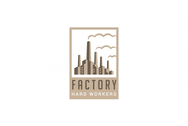 Фабрика логотип в стиле ретро вектор значок.