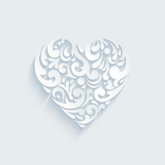 抽象的な創造的な要素によって形成された心の装飾的な形。バレンタインの日、結婚式のお祝いのはがきのテンプレート。