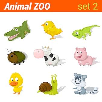 Смешные детские животные значок набор. элементы изучения языка детей. аллигатор, курица, ящерица, жук, корова, свинья, утка, улитка, енот.