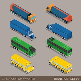 Длинный транспортный транспорт плоский изометрический набор