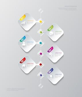 タイムラインプロセス企業の歴史ビジネスインフォグラフィックテンプレート。インフォグラフィック財務レポートの背景概念。