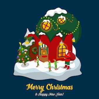 Санта-клаус эльф волшебный дом иллюстрация