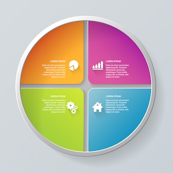 Многоцветный круг сегментный элемент шаг шаги инфографики шаблон.
