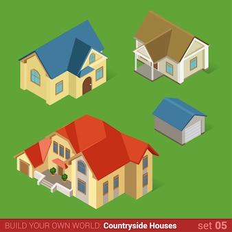 アーキテクチャの古典的な田舎には、建物のフラット等尺性セットマンションホームコテージタウンハウスとガレージが家します。