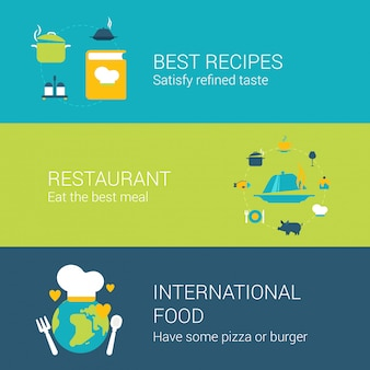 Значки концепции ресторана плоские установили самых лучших иллюстраций еды обслуживания бара бара книги рецептов международной.