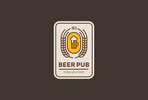 Пивная кружка с логотипом линейный стиль.