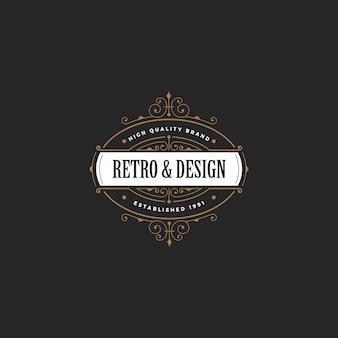 ビンテージバッジロゴ。レトロクラシックスタイル