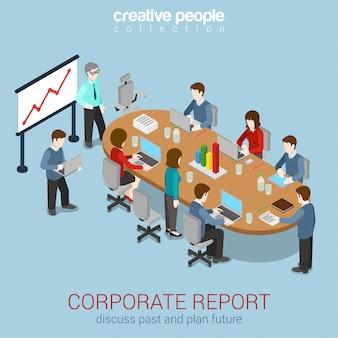 Офис конференц-зал доклад бизнес сотрудничество совместной работы мозгового штурма изометрии концепции иллюстрации. штат вокруг стола работая с таблеткой компьтер-книжки.