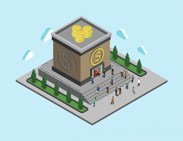 銀行預金ローン金融サービスのコンセプト。人々は屋根の等角投影図にお金のコインで銀行に歩く