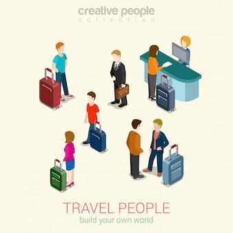旅行の人々は、等尺性の概念図の荷物袋、パスポートセキュリティ制御、チケットサービスを持つ男性と女性を設定します。