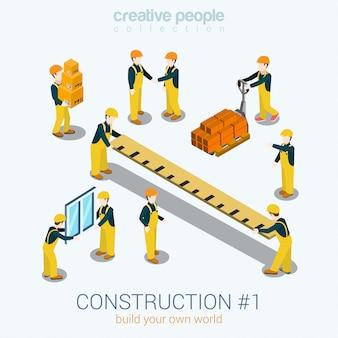 Строители строят люди изометрическая иллюстрация желтая униформа здание конструктор рабочий персонал кирпичная коробка линейка окно