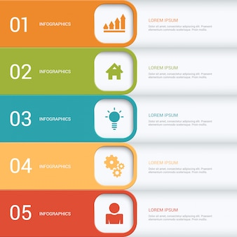 多色ステッププロセスインフォグラフィックテンプレート