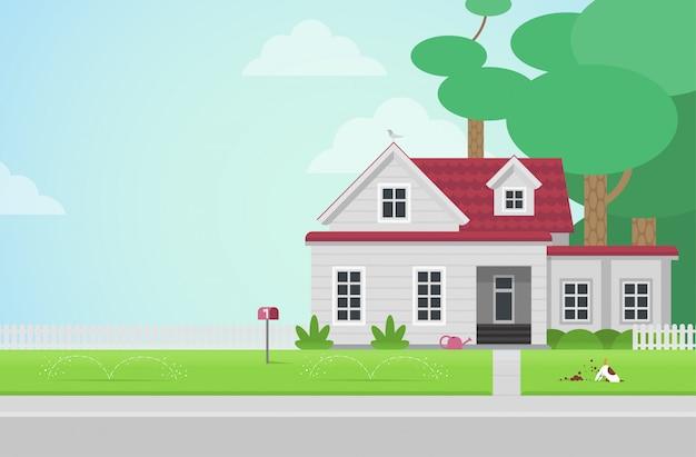 Деревенский дом - плоский стиль векторные иллюстрации.