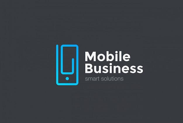 Мобильный телефон как клип логотип значок. линейный стиль