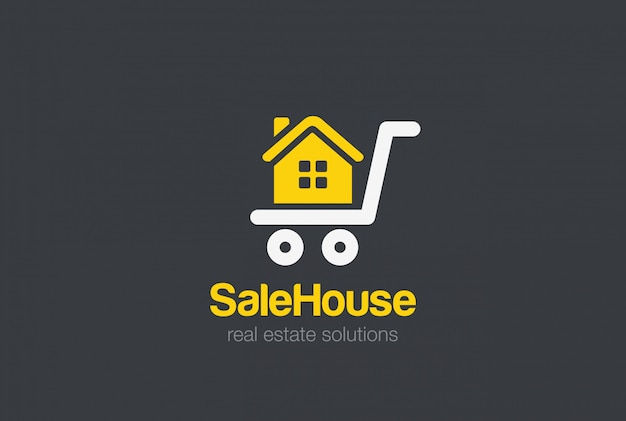 Шаблон дизайна логотипа недвижимости. продается корзина дом силуэт концепция логотипа