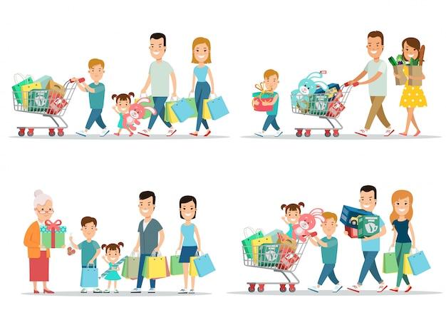 Семейные торговые концепции. счастливые люди родители и дети с покупками
